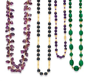 A GROUP OF MULTI-GEM BEAD NECKLACES