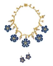 """A SUITE OF SAPPHIRE, DIAMOND AND GOLD """"MORNING GLORY"""" JEWELRY, BY JEAN SCHLUMBERGER, TIFFANY & CO."""