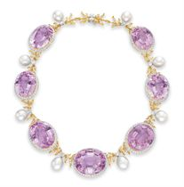 A KUNZITE, DIAMOND AND CULTURED PEARL NECKLACE, BY JULIUS COHEN