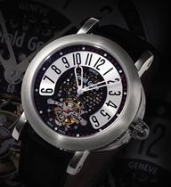 GERALD GENTA, ARENA TOURBILLON  PLATINUM AUTOMATIC TOURBILLON WRISTWATCH WITH RETROGRADE HOUR DISPLAY