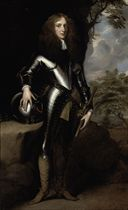 Portrait of a gentleman, full-length, in armour, his right hand resting on a helmet, his left holding a baton, in a landscape