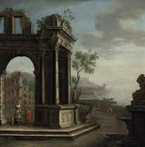 A Mediterranean coastal landscape with figures beneath21lassical ruins