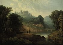 A wooded river landscape with anglers on a bank