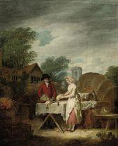 A gentleman buying dead game from an open market, a village beyond