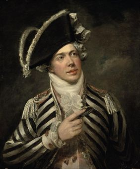 Portrait of a gentleman, traditionally identified as John Fawcett (1768-1837) as Friponi, half-length, in a black and white coat and black hat
