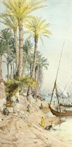 Washing clothes on the Nile at Cairo, with feluccas