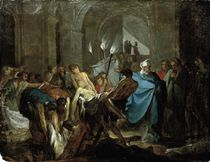 Tobit burying the dead in defiance of the orders of Sennacherib