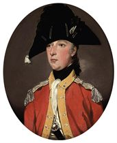 Portrait of an officer, thought to be Lieutenant Hall, small half-length, in the uniform of the Staffordshire Militia