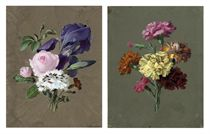 Still life of pink roses, irises and white carnations; and Still life of yellow, orange and pink carnations (both illustrated)
