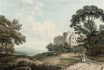 View of Appleby Castle, Appleby-in-Westmorland, Cumbria, with elegant figures in the foreground