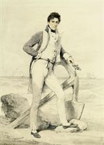 Portrait of Captain Hoste of H.M.S. Amphion, small full-length, his sword in his left hand, standing on the foreshore by an anchor