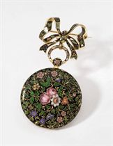Bautte. A fine 18K gold enamel openface cylinder watch with matching brooch