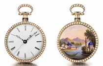 Fleurier and Geneva. An extremely fine and rare 18K pink gold, enamel and pearl-set openface centre seconds duplex watch with enamel landscape of a harbour scene in the Ottoman Empire, made for the Chinese Market