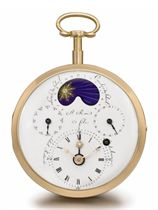 Samuel Roi & Fils. An impressive and historically important 18K pink gold openface astronomical watch with virgule escapement, sunrise, sunset and sectorial-type equation