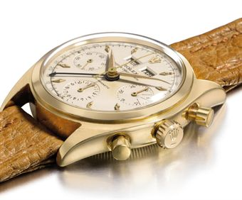 Rolex. A very fine and extremely rare 18K gold triple calendar chronograph wristwatch with luminous hands and hour markers