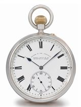 Joseph White & Son. An unusual silver and gold openface keyless lever watch with 6 minute flying tourbillon