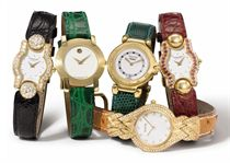 Vignando, Tabbah, Barthelay and Movado. A lot of four lady's 18K gold and diamond-set wristwatches and two lady's gold-plated wristwatches