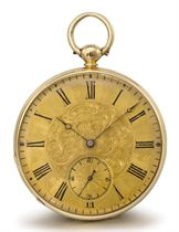 Maniglier. A fine and unusual 18K gold openface eight day duplex Royal presentation watch