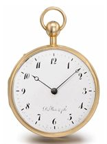 """Du Bois & Fils. A fine and rare 18K pink gold openface """"perpetuelle"""" quarter repeating watch"""