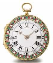 Thomas Taylor. A fine gilt metal, paste-set and leather two train striking verge watch, made for the Chinese Market