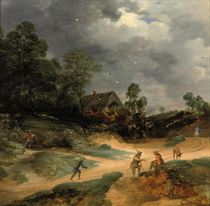 A dune landscape with figures and pigs on a track near a cottage