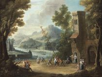 The raising of the Maypole outside a city gate near a river
