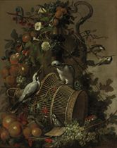 Two loggerhead shrikes on a reed cage, apples, peaches, grapes, pears, red berries and cherries together with flowers hanging from a vase, a butterfly and great tits, all on a marble ledge