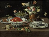 Wild strawberries in a Chinese 'kraak' porcelain bowl, blackberries in a second bowl standing on a plate, various flowers in a bronze vase, damsons in yet another bowl and walnuts on a plate, with a peach, a sprig of cherries and other fruit, all on a stone ledge, a finch and a butterfly nearby