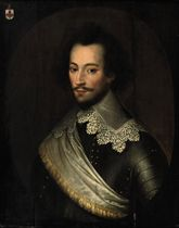 Portrait of Charles de Rechignevoisin (c. 1600-1649), half-length, in armour with a white lace collar and a white sash