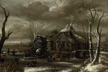 A winter landscape with figures chopping wood and sleighing on a frozen river near an inn