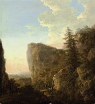 An Italianate landscape with a muleteer and travellers on a mountain track