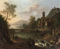 An Italianate river landscape with a muleteer and anglers, a hilltop town beyond