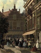 Festivities in front of 'Koffiehuis de Gouden Bal'