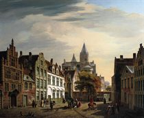 View of a busy square in summer, Ghent