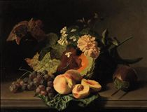 Roses, peaches, grapes and other fruits and flowers on a ledge