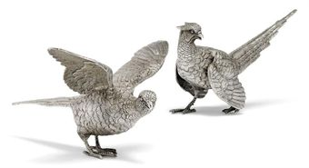 A PAIR OF MODERN SILVER PHEASANT TABLE ORNAMENTS