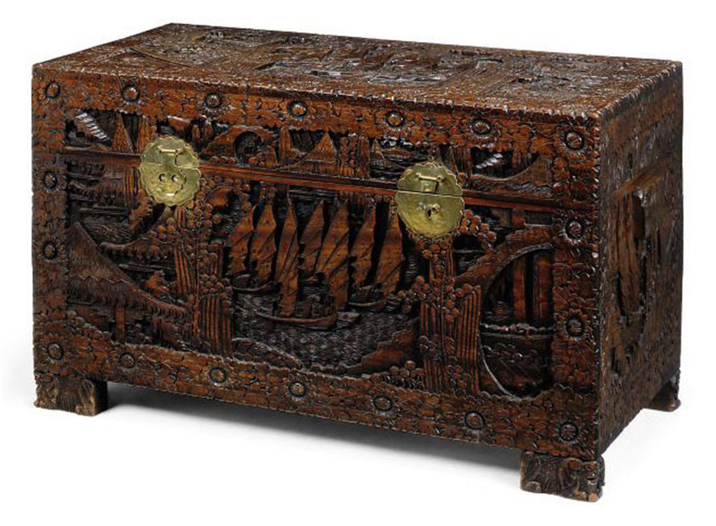 A south east asian carved hardwood and camphor lined chest for South asian furniture