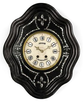 A FRENCH EBONISED AND MOTHER OF PEARL INLAID STRIKING VINEYARD CLOCK
