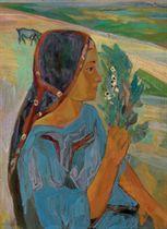 Jeune fille portant des fèves en fleurs