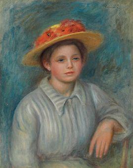 Portrait de femme au chapeau fleuri