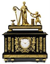 A DIRECTOIRE PATINATED-BRONZE AND ORMOLU-MOUNTED MUSICAL ORGAN CLOCK