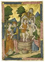 MAKING AND TASTING WINE, full-page miniature by THE SPANISH