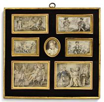 A FRAME CONTAINING MINIATURES BY CARL-GUSTAV KLINGSTEDT (SWEDISH, 1657-1734)