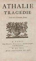 RACINE, Jean (1639-1699). Athalie. Tragédie. Tirée de l'Ecriture Sainte. Paris: Denys Thierry, 1691.