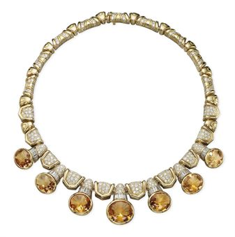 A CITRINE AND DIAMOND NECKLACE, BY BULGARI