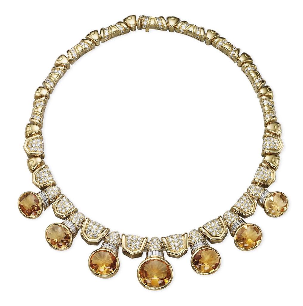 a citrine and diamond necklace by bulgari jewelry
