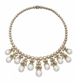A CULTURED PEARL AND DIAMOND NECKLACE, BY VAN CLEEF & ARPELS