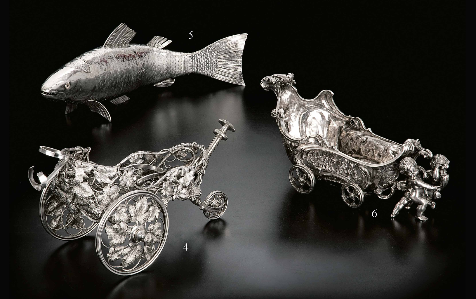 chariot porte bouteille en metal argente par christofle. Black Bedroom Furniture Sets. Home Design Ideas