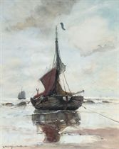 A fishing vessel on the beach of Katwijk