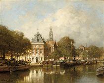 De Waag aan het Spaarne te Haarlem: View of the river Spaarne with the Bakenessertoren beyond, Haarlem